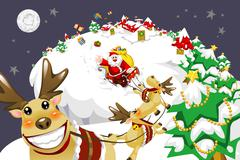 Santa Claus riding sleigh to send gifts - stock illustration