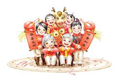 Family portrait of a family celebrating Chinese New Year - stock illustration