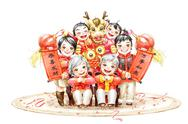 Stock Illustration of Family portrait of a family celebrating Chinese New Year