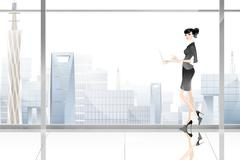 Businesswoman standing by window - stock illustration
