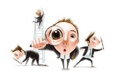 Busy businessman looking for something Stock Illustration