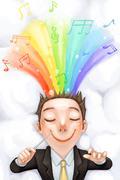 Happy businessman - stock illustration