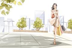 Stock Illustration of Stylish young woman go shopping