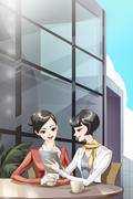 Young businesswomen in discussion Stock Illustration