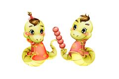 Cartoon snake and candid haws for Chinese year of snake - stock illustration