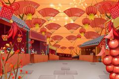 Temple fair for Chinese New Year - stock illustration