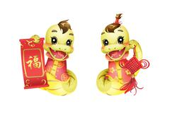 Cartoon snake and new year decoration for Chinese year of snake - stock illustration