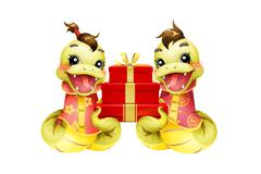 Cartoon snake and gift box for Chinese year of snake - stock illustration