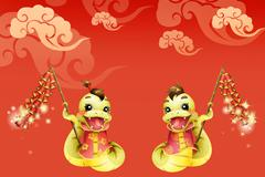 Cartoon snake and firecrackers for Chinese year of snake - stock illustration