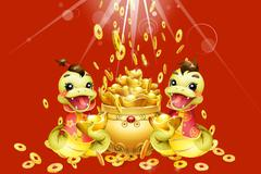 Cartoon snake and Chinese treasure basin for Chinese year of snake - stock illustration