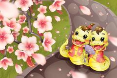 Cartoon snake and peach blossom for Chinese year of snake Stock Illustration
