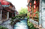 Stock Illustration of Old Lijiang town in Yunnan Province of China