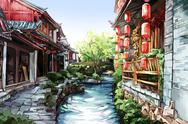 Stock Illustration of Old Chinese town--Lijiang