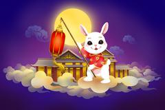 Full moon and rabbit for Chinese Mid Autumn Festival - stock illustration