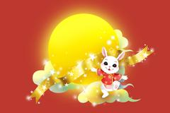 Golden full moon and rabbit for Chinese Mid Autumn Festival - stock illustration