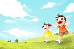 Children running on grassland - stock illustration