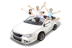 Family driving a convertible - stock illustration