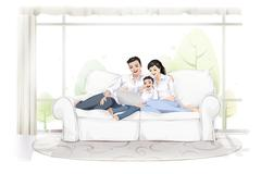 Stock Illustration of Family using computer