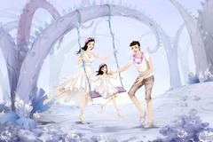 Stock Illustration of Family playing the swing in forest