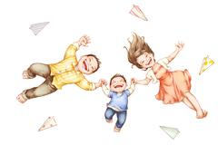 Young family lying on back with paper planes around Stock Illustration