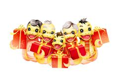 Happy snake family celebrating Chinese New Year with gifts Stock Illustration