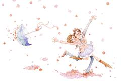 Romantic young couple dancing in the flower rain - stock illustration