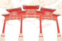 Chinese traditional architecture,Pailou - stock illustration