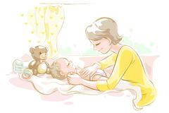 Mother taking care of baby - stock illustration