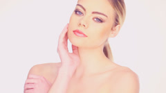 Beauty portrait of a woman with bare shoulders Stock Footage