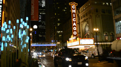 Chicago Theater Marquee at night Stock Footage