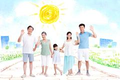 Happy family waving hands in community - stock illustration