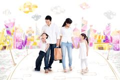 Cheerful family shopping Stock Illustration