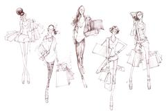 Sketch of fashion models Stock Illustration