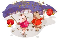 Cute horses with lanterns celebrating Chinese New Year - stock illustration