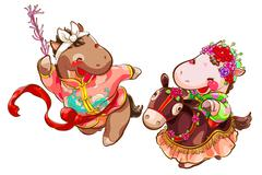 Cute horses dancing on New Year's Day Stock Illustration