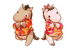 Cute horses greeting for Chinese New Year - stock illustration