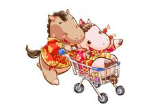 Cute horses shopping on New Year's Day - stock illustration