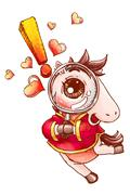 Cute horse with magnifying glass - stock illustration