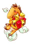 Cute horse with gift celebrating Chinese New Year - stock illustration