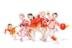Big family celebrating Chinese New Year Stock Illustration