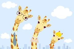 Happy giraffe family - stock illustration