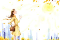 Stock Illustration of Young woman taking a walk in Autumn