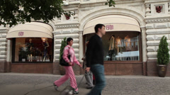 Moscow shopping street, people passing by Stock Footage