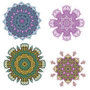 Lace purple floral colorful ethnic ornament Stock Illustration