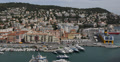 Ultra HD 4K Aerial View French Harbor Nice Skyline Big Cruise Ships Cote D'Azur Footage
