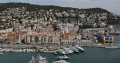Ultra HD 4K Aerial View French Harbor Nice Skyline Big Cruise Ships Cote D'Azur Stock Footage