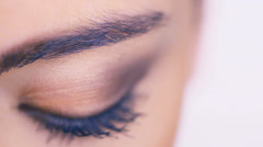 Closeup of a female eye with eyeshadow - stock footage