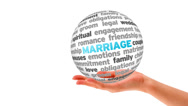Stock Video Footage of Marriage Word Sphere