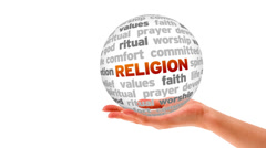 Religion Word Sphere Stock Footage