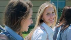 Close Up Of High School Students Walking To Class Stock Footage